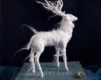 Stag patronus, Harry Potter inspired gift. needle felted white stag sculpture, spirit animal