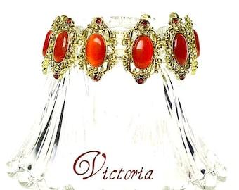 Vintage Style Bracelet  Metal Gold Red Orange Fiber Optic Handmade