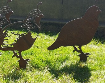 Quail Rustic Garden Art set of 5 recycled steel custom quail family rusty yard art
