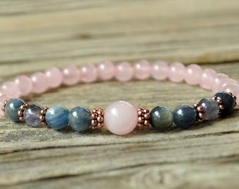 Taurus Energy, Rose Quartz Bracelet, Kyanite, Iolite, Taurus Zodiac, Yoga Bracelet, Meditation Bracelet, Energy Bracelet, Crystal Healing