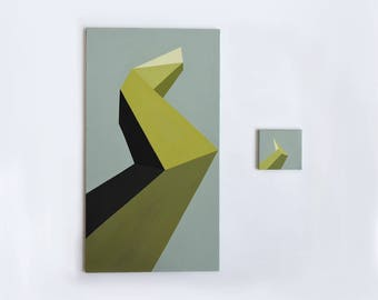 Abstract Diptych, Yellow, Green, Diptych Painting, Minimalist Art, Wedding Gift, Diptych Wall Art, Geometric Art, Housewarming, Large Art