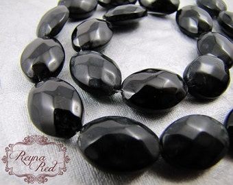 Black Faceted Glass Oval Beads, special occasion, Bridal, formal, faceted oval beads, jewelry making supplies, beading, beads - reynared