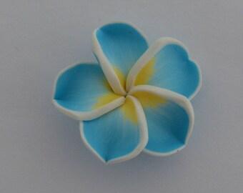 2 beads pressed 34x11mm blue white yellow - Ref: PF 700
