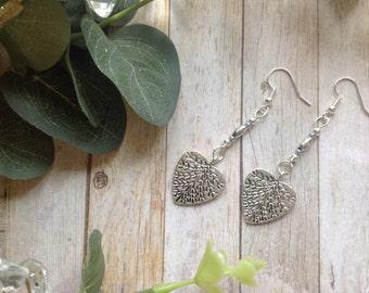 Silver Heart Statement Drop Earrings