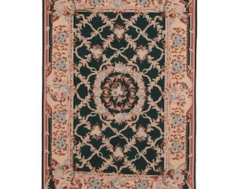 Vintage Hand Woven Wool Chinese Needlepoint Rug - 4′ × 6′ Blue, Rust # 4949