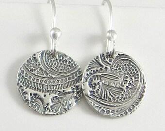 Dainty Earrings, Textured Earrings,Fine Silver Earrings, Disc Earrings, PMC Jewelry Gifts for Her