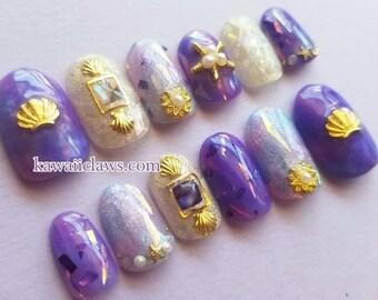 Violet Marble Shell & Starfish Mermaid Gel Nail Art Press on false fake nails