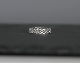 Sterling Silver Weave Ring, Thick Band, Patterned Sterling Silver Ring