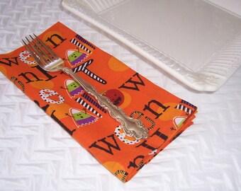 Halloween Dinner Napkins, Halloween Fun Napkins, Orange Cloth Napkins, Fabric Napkins