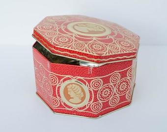 Golden Red Octagon Tin Storage Box