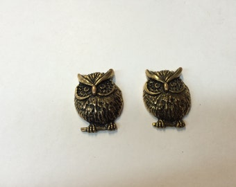 Stamping - Metalized Plastic Owl - Set of 2