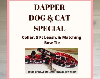 Dapper Dog/Cat Package with Collar Leash & Bow Tie