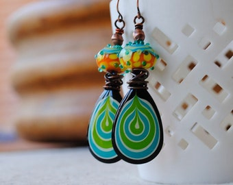 Colorful Earrings, Teardrop Earrings, Funky Earrings, Pebeo Jewelry, Unique Artisan Jewelry, Boho Hippie Earrings, Modern Painted Jewelry