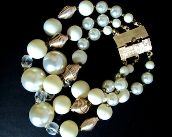 Mid-Century Triple Strand Bracelet Beads and Pearls 1950s Baubles