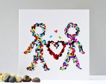 Happy Couple Card, Lovers  Card, New Relationship Card, Anniversary Card, Dating Card, Romantic Birthday Card, Butterfly Card