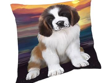 Saint Bernard Dog Throw Pillow