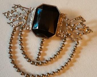 Brooch, silver tone, vintage