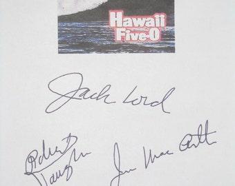Hawaii Five-O Signed Classic TV Screenplay Script X3 Autograph Jack Lord James MacArthur Robert Vaughn vintage signature