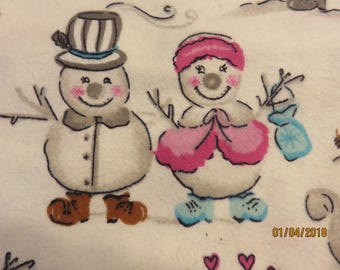 Snowman Family Cotton Flannel  -Fabric-Priced Per 1/2 Yd-  Free Shipping