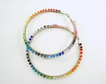 Rainbow of Swarovski  Crystal Beads Wire Wrapped Hoop Earrings, Big Hoop Crystal Wire Wrapped Earrings