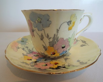 Vintage Yellow Teacup and Saucer. 1930s Crown Staffordshire Tea Cup, Hand Painted With Flowers. Ideal For A Tea Party Or A Tea For One Gift