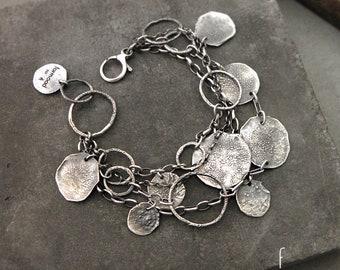 form017 collection - 100% Ag bracelet, raw sterling silver bracelet, oxidized silver, sterling silver bracelet, handmade bracelet