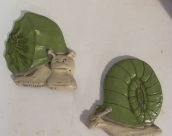 Whimsical Vintage Snail and Shell Wall Art By Hoda 77