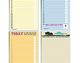 Funny To Do Lists Note Pad Assorted Pack - 4 Funny ToDo List Pads - 639