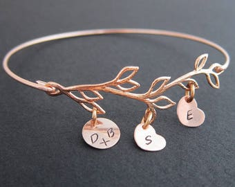 Mom Bracelet with Kid Charms, Mothers Day Gift Idea from Daughter & Son, Mother's Day Gift for Wife, Mom Jewelry, Rose Gold, Family Jewelry