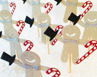 Gingerbread Man Cupcake Toppers, Set of 10, Christmas Party Picks, Festive Toppers, Food Tops, Xmas Party Decorations, Gingerbreads
