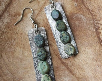 Silver Earrings African Turquoise