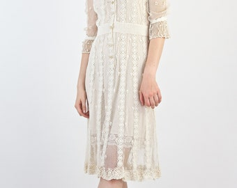 Beautiful Vintage 1970's Victorian Inspired Cream Cotton and Net Delicate Crochet Tea Dress