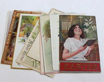 10 Antique Easter Postcards - Vintage Easter Crafts, Scrapbooking, Holiday Decor