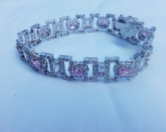 VTG Bracelet with pink and white zircon, sterling silver!