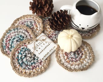 Round Crochet Coasters - Set of 4 || Chunky Boho Placemat Coasters || Coffee Coasters