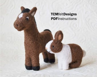 PDF Horse and Rabbit Barn Series Needle Felting Instructions, Beginner/Intermediate Level Fiber Art