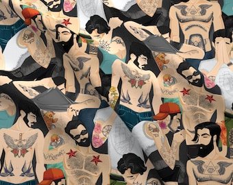 Tattoos Fabric - Hot Guys With Tattoos By Michaelzindell - Tattoos Body Art Boy Men Cotton Fabric By The Yard With Spoonflower
