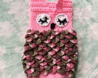 Crochet owl cocoon / swaddler