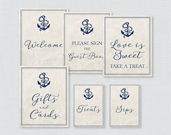 Nautical Bridal Shower Table Signs - Printable Navy Anchor Nautical Bridal Shower Decorations - Welcome Sign, Favors Sign, etc 0011