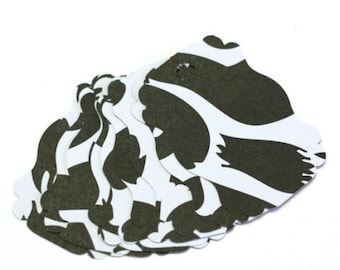 Black and White Cheetah Paper Gift Tags - set of 20 - wedding favor tags