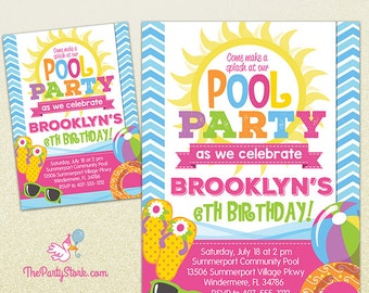Pool Party Invitation | Printable Birthday Invite for Girl | Summer Pool Party | Pink Orange Purple Green Yellow | Swimming Pool Invitations