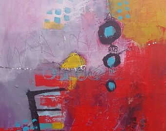 Original Abstract Art, Wait for Me 11 x 14 by artist and author Jodi Ohl