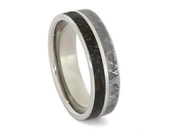 Meteorite Ring, Dinosaur Bone Wedding Band, Engravable Titanium Ring
