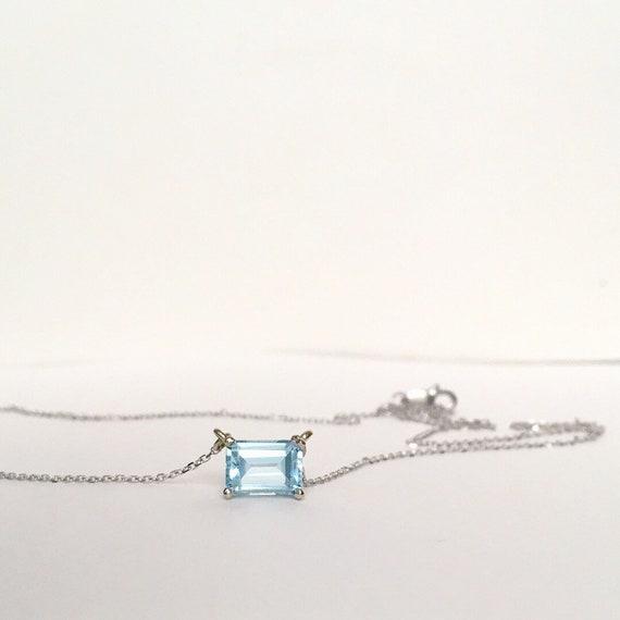Aquamarine Necklace 14k White East West Setting Adjustable