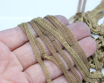 Raw Brass Mesh Chains 4mm , Snake Chains, Brass Chains