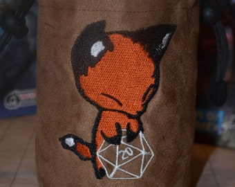 Dice Bag custom Embroidery Suede Fox rolling D20