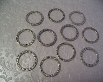 10 Silver Circle Charms Connectors Jewelry Supplies