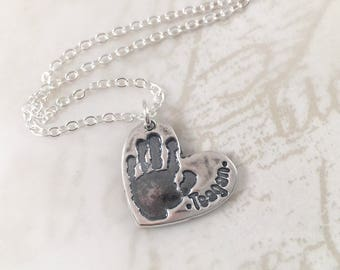 Mother's Day gift, Real handprint necklace, personalized gift, actual hand print, mother gift, personalized necklace, sterling silver