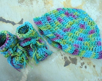 Baby Boutique - Hand Painted Egyptian Cotton Newborn Baby Hat and Bootie Set - 357