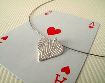 Hearts Pendant The Ace of Hearts Pendant Sterling Silver Pendant Heart Jewelry Valentines Day